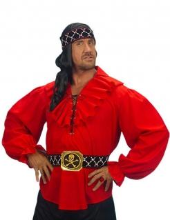Piraten Shirt Rüschenhemd rot