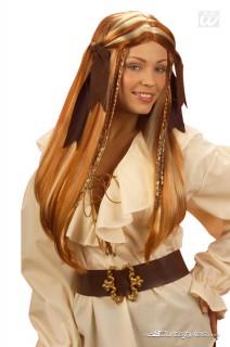 Piratin Perücke Deluxe mit Strähnchen rotbraun-blond