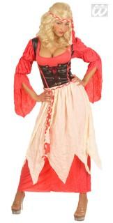 Burgfräulein Damenkostüm Mittelalter rot-weiss-braun