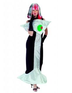 Disco Kleid Damenkostüm schwarz-grün