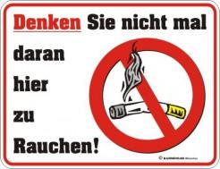 Rauchverbot Schild Wanddeko weiss-schwarz-rot 17x22cm