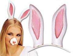 Hasenohren-Haarreif Kostümzubehör weiss-rosa