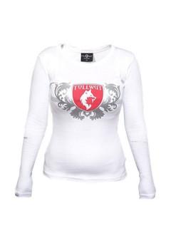 Tollwut-Damenshirt Motiv Device weiss-rot