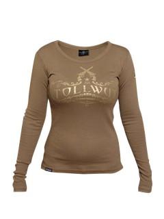 Tollwut-Damenshirt Motiv Vetus braun-gold