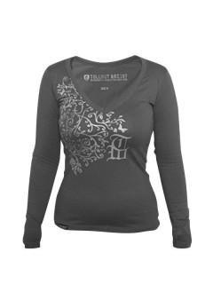 Tollwut-Damenshirt Motiv Adoration grau-silber