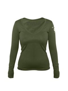 Langärmlige Tollwut-Shirt Longsleeve für Damen olivgrün