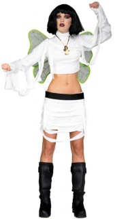 Dunkle Elfe Halloween Damenkostüm weiss-schwarz-grün