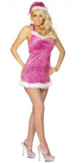 Weihnachtslady Damenkostüm Weihnachten pink-weiss