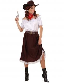 Cowgirl Damenkostüm Western braun-weiss