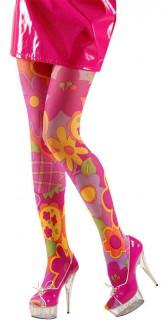 Hippie Strumpfhose Blumen pink-bunt