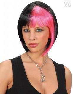Disco Perucke 70er Frisur Zweifarbig Schwarz Pink