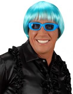 Disco Perücke 70er Frisur blau