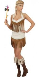 Squaw Damenkostüm Indianerin braun-weiss