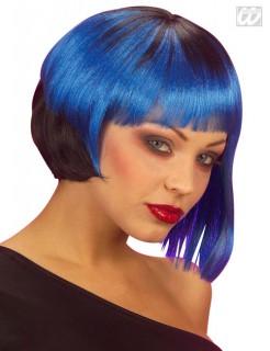 80er Perücke schwarz-blau