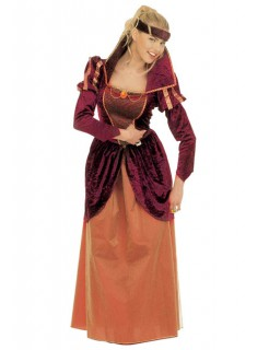 Mittelalterliche Königin Damenkostüm Burgfräulein rot-orange