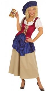 Mittelalter Kleid Damen-Kostüm rot-blau