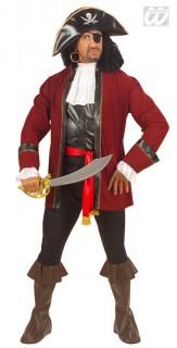 Piratenkostüm Deluxe rot-schwarz-weiss