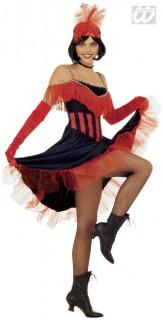 20er Jahre Cancan Damenkostüm rot-schwarz