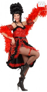 20er Jahre Showgirl Damenkostüm rot-schwarz