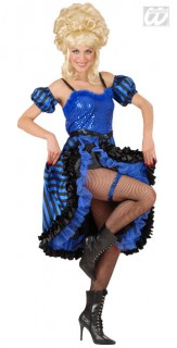 20er Jahre Showgirl Kostüm blau-schwarz