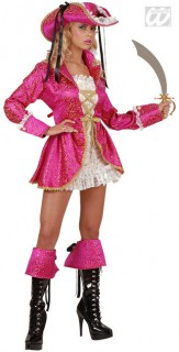 Piratin Damenkostüm pink-weiss-gold