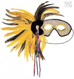 Venezianische Maske Federn gelb