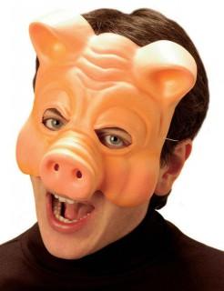 Schwein Maske Halbmaske beige