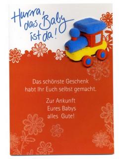 Baby-Glückwunschkarte inklusive Umschlag bunt 12x17cm