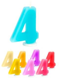 Geburtstagskerze Zahl 4 Torten-Deko bunt 6cm