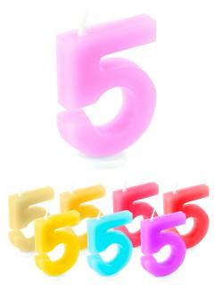 Geburtstagskerze Zahl 5 Torten-Deko bunt 6cm