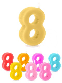 Geburtstagskerze Zahl 8 Torten-Deko bunt 6cm