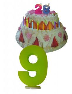 Geburtstagskerze Zahl 9 Torten-Deko bunt 6cm