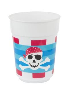 Piraten Party Plastik-Becher blau-rot-weiss 400ml