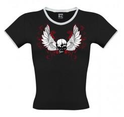 Totenkopf-Girlie-Shirt schwarz-weiss-rot