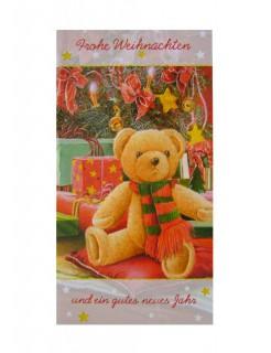 Weihnachtskarte Teddybär Grußkarte bunt 10x18cm
