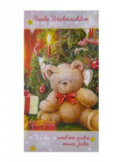 Weihnachtskarte Bär Grusskarte bunt 10x18cm