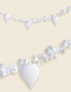 Girlande Blüten und Herzen Hochzeitsdeko weiss 4,5m