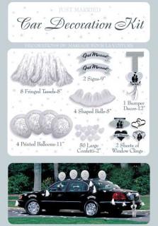 Just Married Autodeko-Set Deluxe Hochzeit 71-teilig weiss-schwarz-silber