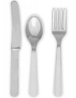 Besteck-Set Messer Löffel und Gabeln 24-teilig grau