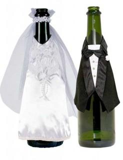 Braut und Bräutigam Hochzeit-Flaschendeko schwarz-weiss 34x23,5cm