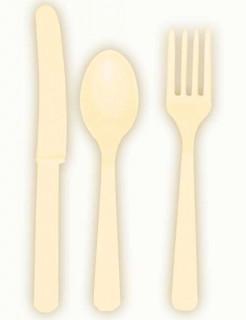 Besteck-Set Messer Löffel und Gabeln 24-teilig cremefarben