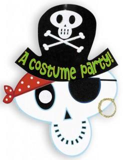 Halloween Einladungskarten-Set Skelett Pirat schwarz-weiss-grün 19,3x15,5cm