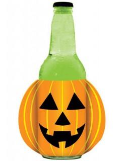 Kürbis Flaschenkühler Halloween Party-Deko orange-gelb-schwarz 10cm