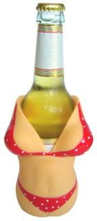 Bierflaschen-Kühler Sexy Frau beige-bunt 14cm