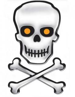 Totenkopf Knochen Aufkleber-Set Halloween Dekoration weiss-schwarz 25,4x15,9cm