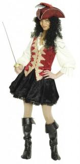 Piratin Kapitänin Damenkostüm schwarz-rot-gold