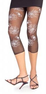 Capri-Leggings Spinnennetz schwarz-weiss