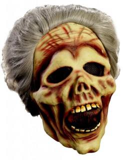 Zombie Oma Halloween-Maske beige-grau