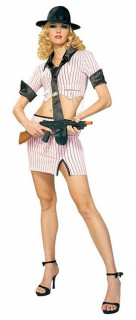 Heiße Gangsterbraut Damenkostüm Ganovin rosa-schwarz