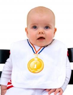 Babylatz Goldmedaille weiss-bunt 39x23cm